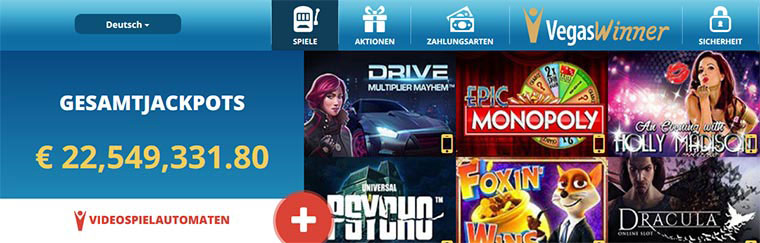 VegasWinner Onlinecasino Spiele