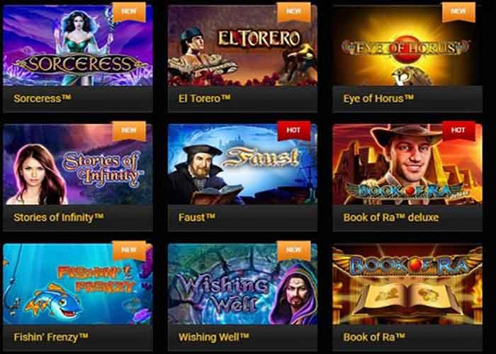 Novomatic Slots, De Luxe Spiele für Desktops und  Unterwegs